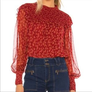 Free People Rome Blouse Smocked Floral size med